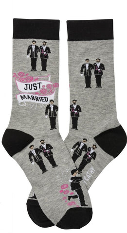 Two Grooms Just Married Unisex Socks in Grey and Pink