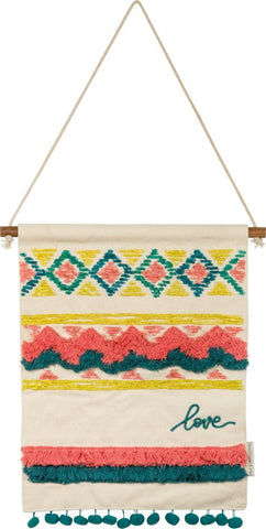 Love Bohemian Wall Hanging Decor with Fringe and Pom Details