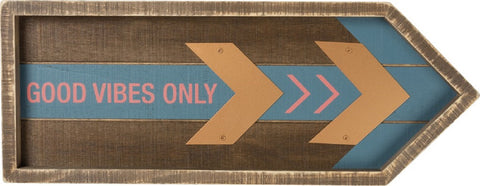 Good Vibes Only Inset Slat Wooden Box Sign
