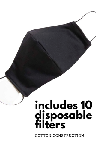 Reusable Cotton Face Cover with 10 Disposable Filters | Black Unisex