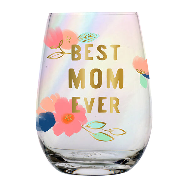 Best Mom Ever Stemless Wine Glass in Floral Design