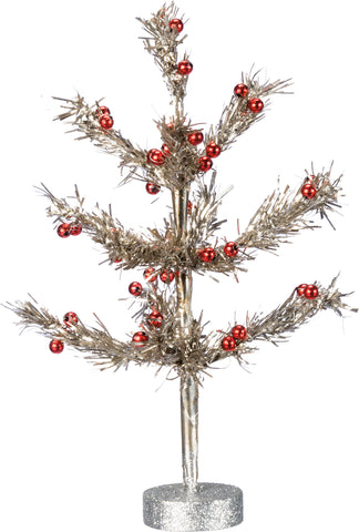 Christmas Tinsel Tree In Silver