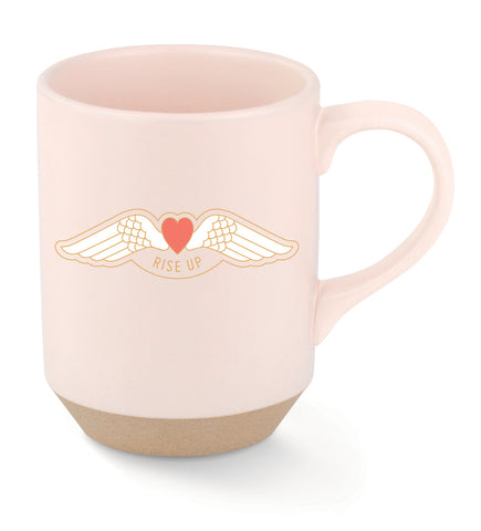 Rise Up Stoneware Mug in Pink with Winged Heart
