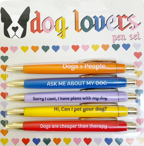 Dog Lovers Multicolor Pen Set | 5 Funny Pens Packaged for Gifting | Dogs > People, Dogs Are Cheaper Than Therapy...