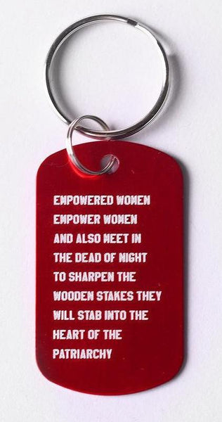 Empowered Women Empower Women And Also Meet in the Dead of Night Feminist Dog Tag Keychain in Red with Silver Lettering