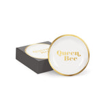 Queen Bee Round Mini Trinket Tray in Gold Detail