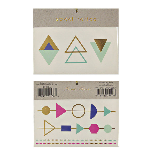 Geometric Triangle Tattoo Set in Gold, Pink, Mint, and Blue