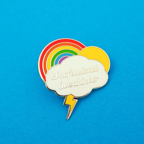 Professional Overthinker - Enamel Pin With Rainbow and Cloud Design