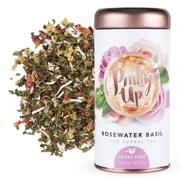 Rosewater Basil Loose Leaf Iced Tea | Caffeine Free with Tulsi, Coconut, Lemon Verbena, Rose Petals, Chamomile, Lemon Myrtle
