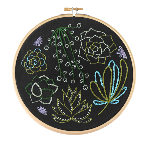 Black Succulents Contemporary Embroidery Kit | Made in the UK