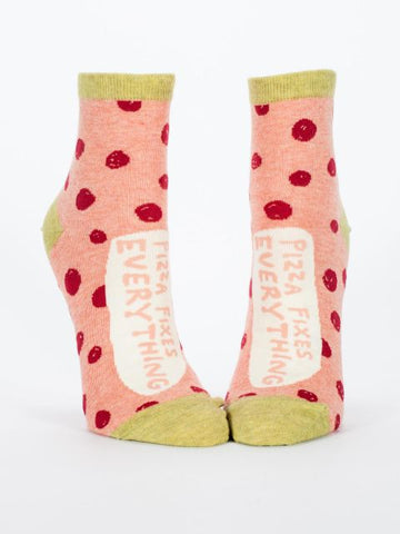 Pizza Fixes Everything Women's Quirky Ankle Socks Hipster/Nerdy/Geeky/Trendy, Funny Novelty Socks with Cool Design, Bold/Crazy/Unique Half Dress Socks