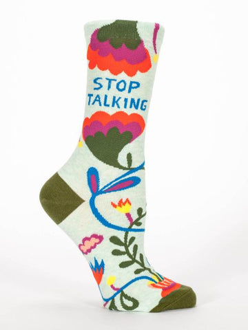 Stop Talking Women's Crew Socks, Hipster/Nerdy/Geeky/Trendy, Colorful Floral Funny Novelty Socks with Cool Design, Bold/Crazy/Unique Quirky Dress Socks