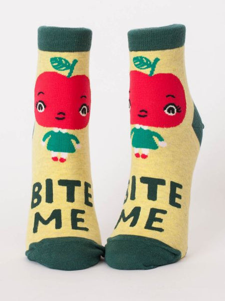 Bite Me Women's Ankle Socks, Hipster/Nerdy/Geeky/Trendy, Funny Novelty Socks with Cool Design, Bold/Crazy/Unique Half Dress Socks