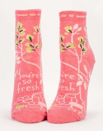 You're So Fresh Quirky Women's Ankle Socks, Hipster/Nerdy/Geeky/Trendy, Pink Funny Novelty Socks with Cool Design, Bold/Crazy/Unique Dress Socks