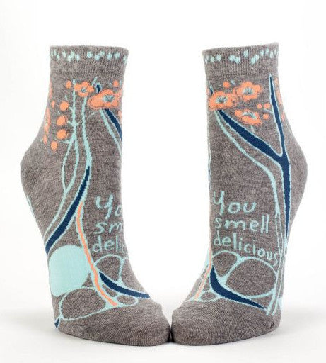 You Smell Delicious Women's Quirky Ankle Socks Hipster/Nerdy/Geeky/Trendy, Floral Funny Novelty Socks with Cool Design, Bold/Crazy/Unique Half Dress Socks