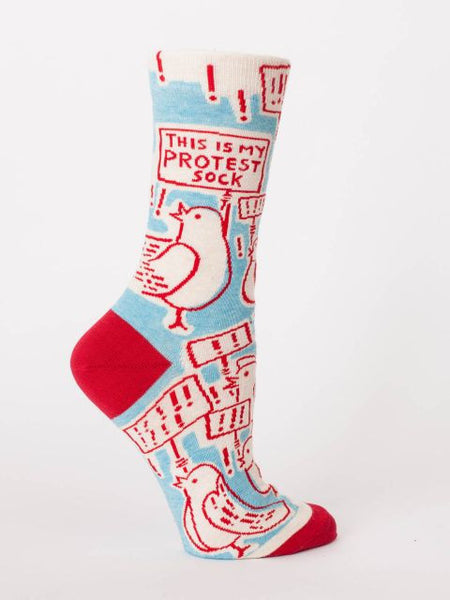 This Is My Protest Sock Women's Crew Socks, Hipster/Nerdy/Geeky/Trendy, Novelty Power Socks with Cool Design, Bold/Crazy/Unique Business Dress Socks