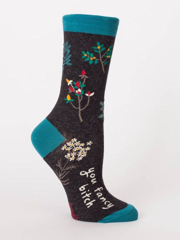 You Fancy Bitch Women's Crew Socks, Hipster/Nerdy/Geeky/Trendy, Black Colorful Funny Novelty Socks with Cool Design, Bold/Crazy/Unique Specialty Dress Socks