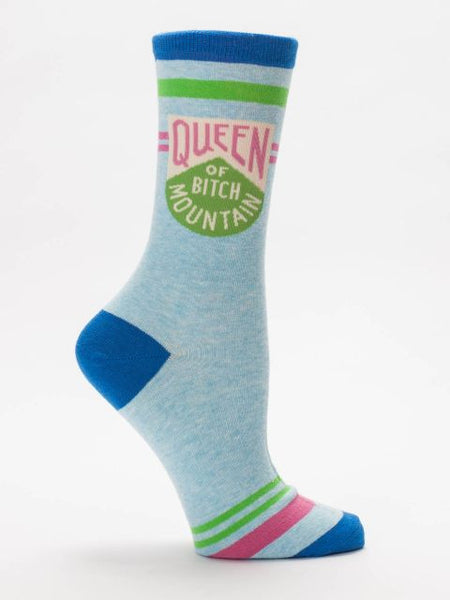 Queen of Bitch Mountain Women's Crew Socks in Retro Blue