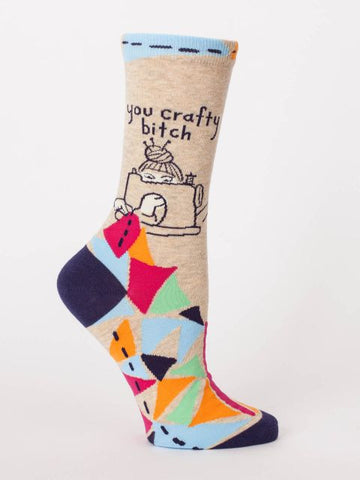 You Crafty Bitch Crew Socks in Multicolor Geo