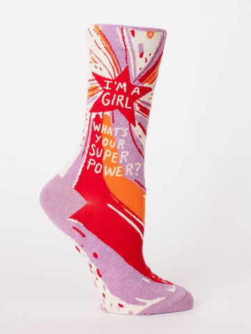 I'm a Girl. What's Your Superpower? Women's Crew Socks, Hipster/Nerdy/Geeky/Trendy, Colorful Funny Novelty Power Socks with Cool Design, Bold/Crazy/Unique Dress Socks
