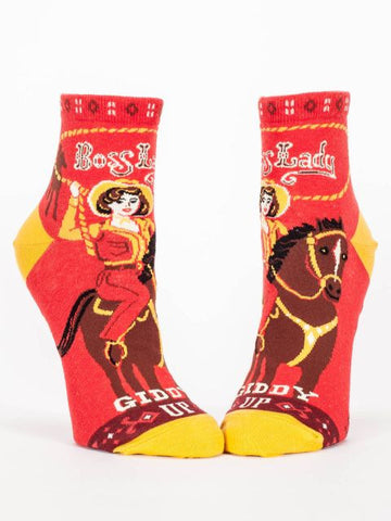 Boss Lady Women's Ankle Socks, Hipster/Nerdy/Geeky/Trendy, Quirky Novelty Socks with Cool Design, Bold/Crazy/Unique Half Dress Socks