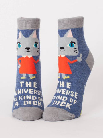The Universe Is A Dick Women's Ankle Socks, Hipster/Nerdy/Geeky/Trendy, Funny Cat Novelty Socks with Cool Design, Bold/Crazy/Unique Half Dress Socks