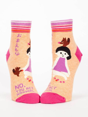 No, YOU Act Normal Women's Ankle Socks, Hipster/Nerdy/Geeky/Trendy, Pink Colorful Funny Novelty Socks with Cool Design, Bold/Crazy/Unique Half Dress Socks