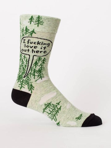 I Fucking Love It Out Here Men's Crew Socks in Greenery, Hipster/Nerdy/Geeky/Trendy, Funny Novelty Socks with Cool Design, Bold/Crazy/Unique Quirky Dress Socks