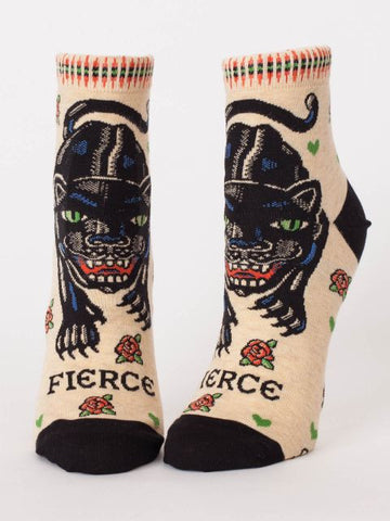 Fierce Women's Ankle Socks Hipster/Nerdy/Geeky/Trendy, Novelty Power Socks with Cool Design, Bold/Crazy/Unique Half Dress Socks