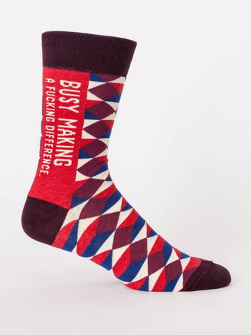 Busy Making A Fucking Difference Men's Crew Socks, Hipster/Nerdy/Geeky/Trendy, Argyle Funny Novelty Business Socks with Cool Design, Bold/Crazy/Unique Pattern Power Dress Socks