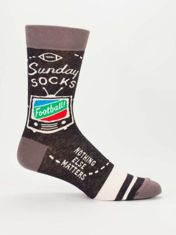 Sunday Football Nothing Else Matters Men's Crew Socks, Hipster/Nerdy/Geeky/Trendy, Funny Novelty Socks with Cool Design, Bold/Crazy/Unique Specialty Dress Socks