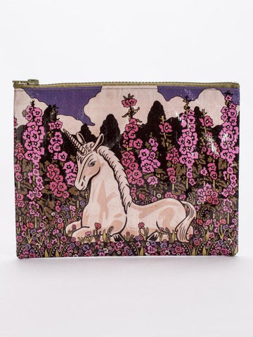 Floral Unicorn Recycled Material Cute/Cool/Unique Zipper Pouch/Bag/Clutch/Cosmetic Bag