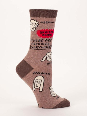 Last Call! There Are Assholes Everywhere Women's Crew Socks, Hipster/Nerdy/Geeky/Trendy, Funny Novelty Socks with Cool Design, Bold/Crazy/Unique Quirky Dress Socks