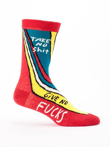 Take No Shit, Give No Fucks Men's Crew Socks, Hipster/Nerdy/Geeky/Trendy, Colorful Funny Novelty Power Socks with Cool Design, Bold/Crazy/Unique Business Dress Socks