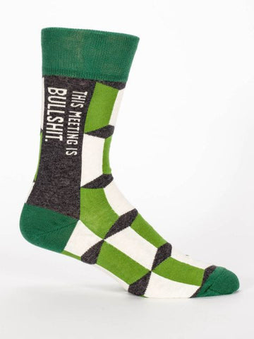 This Meeting Is Bullshit Men's Crew Socks in Green Argyle Print