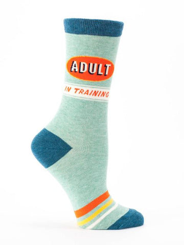 Adult In Training Women's Crew Socks, Hipster/Nerdy/Geeky/Trendy, Funny Novelty Socks with Cool Design, Bold/Crazy/Unique Power Dress Socks