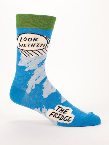 Look Within The Fridge Quirky Men's Crew Socks Hipster/Nerdy/Geeky/Trendy, Funny Novelty Socks with Cool Design, Bold/Crazy/Unique Specialty Dress Socks