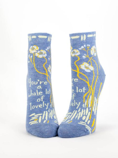 Whole Lot Of Lovely Women's Ankle Socks, Hipster/Nerdy/Geeky/Trendy, Novelty Power Socks with Cool Design, Bold/Crazy/Unique Half Dress Socks