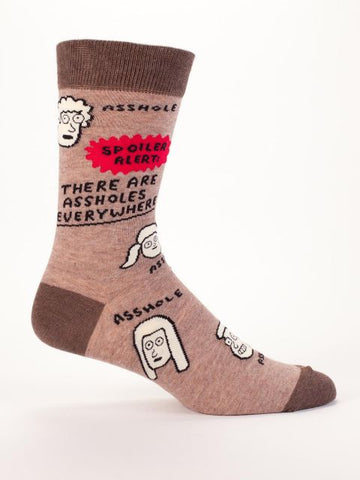 Assholes Are Everywhere Men's Crew Socks, Hipster/Nerdy/Geeky/Trendy, Funny Novelty Socks with Cool Design, Bold/Crazy/Unique Quirky Dress Socks