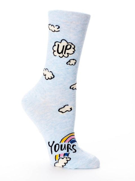 Up Yours Women's Crew Socks, Hipster/Nerdy/Geeky/Trendy, Funny Novelty Socks with Cool Design, Bold/Crazy/Unique Quirky Dress Socks