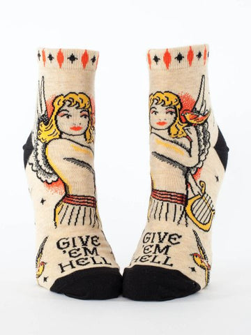 Give 'Em Hell Women's Ankle Socks, Hipster/Nerdy/Geeky/Trendy, Funny Novelty Power Socks with Cool Design, Bold/Crazy/Unique Half Dress Socks