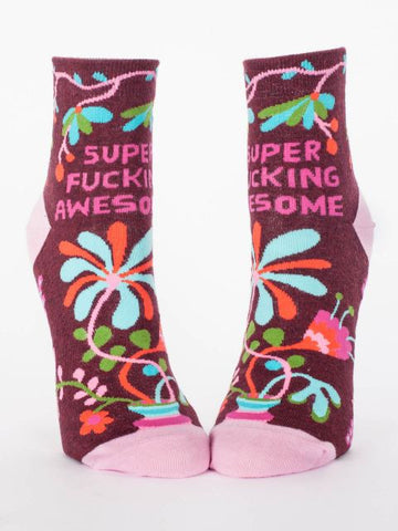 Super Fucking Awesome Women's Ankle Socks, Hipster/Nerdy/Geeky/Trendy, Colorful Floral Funny Novelty Power Socks with Cool Design, Bold/Crazy/Unique Half Dress Socks