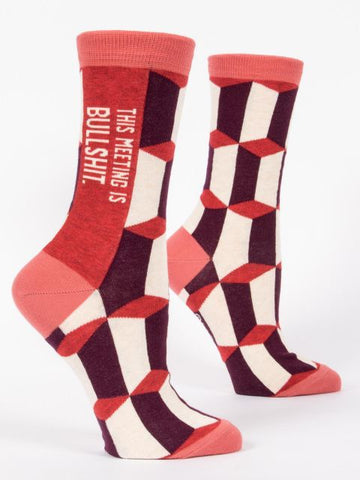 This Meeting is Bullshit Women's Business Crew Socks Hipster/Nerdy/Geeky/Trendy, Red Funny Novelty Socks with Cool Design, Bold/Crazy/Unique Pattern Dress Socks