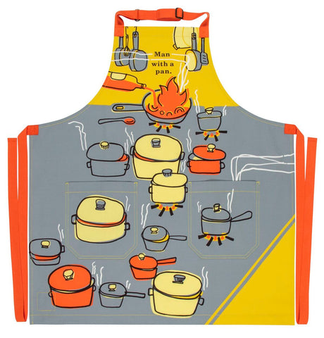 Man With A Pan Apron with Cooking Pan Design Retro Funny / Cute / Cool Apron with Pockets BBQ /Grill / Cooking Country Novelty Cute Old Fashioned Apron