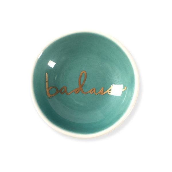 Badass Round Stoneware Trinket Tray in Green and Gold