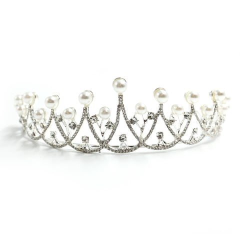 The Age of Pearls Crown Tiara in Silver