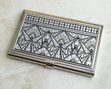 Art Deco Business Card Case in Silver and Black