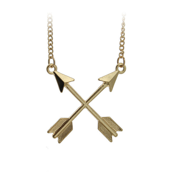 Double Arrow Pendant Necklace in Gold or Silver