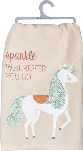 Sparkle Wherever You Multicolored Dish Cloth Towel / Novelty Tea Towels / Cute Kitchen Hand Towel