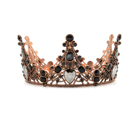 Evil Queen Gothic Crown Tiara in Rose Gold and Black Gems